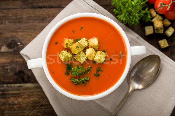 Tomatensuppe mit Croutons Stock photo © Moradoheath