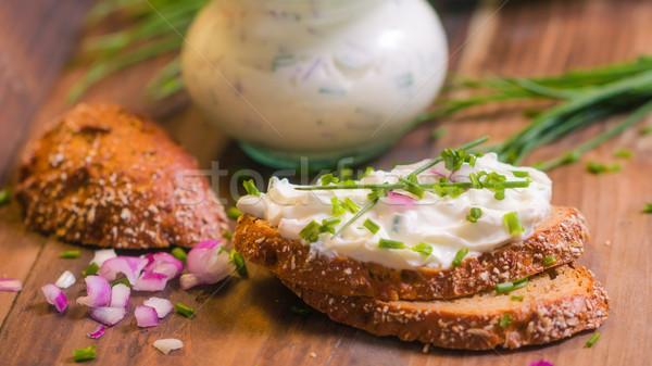 Frischer Quark mit Kräutern Stock photo © Moradoheath