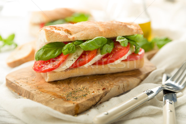 Tomato mozzarella baguette Stock photo © Moradoheath