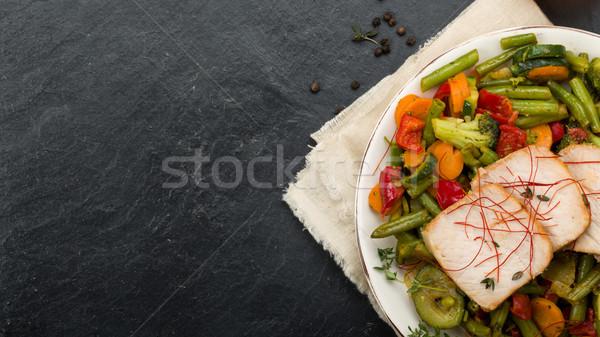 Marinado carne de porco legumes mel fresco ervas Foto stock © Moradoheath