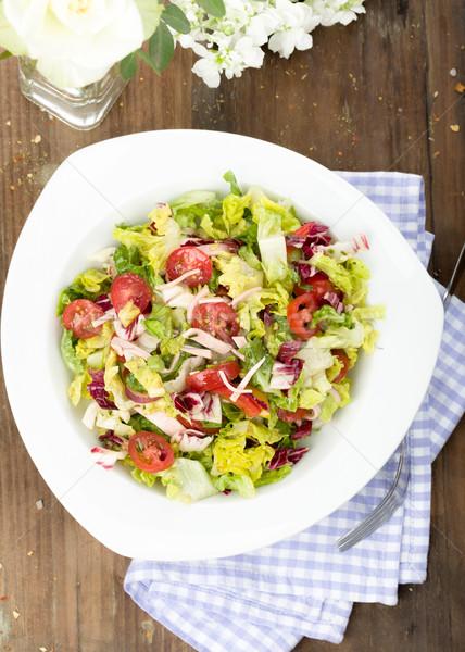 サラダ 混合した 肉 ストリップ トマト レストラン ストックフォト © Moradoheath