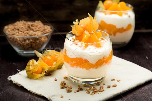 Stockfoto: Yoghurt · mandarijn- · sinaasappelen · vruchten · glas