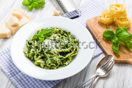 Fettuccine with spinach Stock photo © Moradoheath