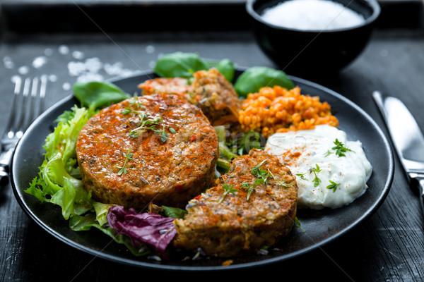Stock photo: Patties on lettuce with bulgur
