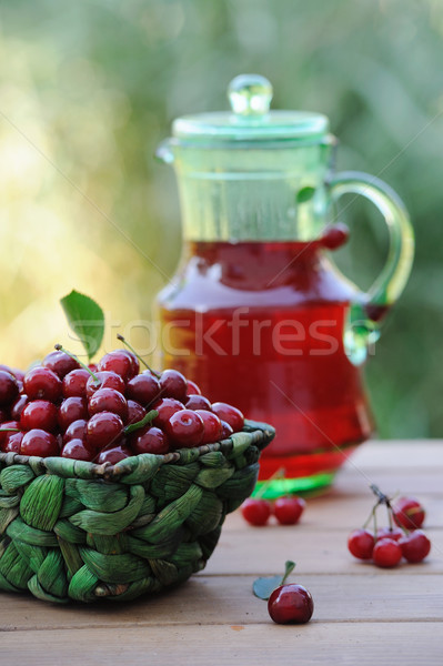 Jug of juice and basket with ripe cherries on wooden table outdoor Stock photo © Moravska