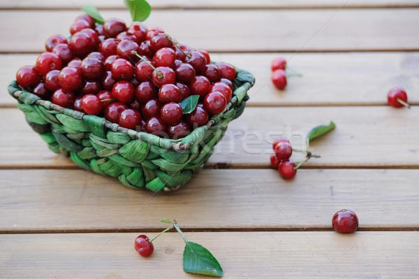 Ripe cherries in a basket on wooden table outdoor Stock photo © Moravska