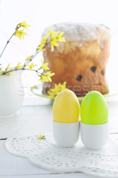 Foto stock: Páscoa · ovos · férias · bolo · florescimento