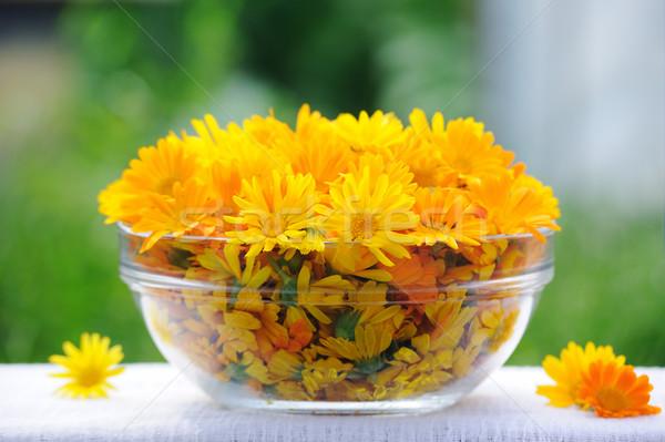 Spa setting, treatment with calendula flowers Stock photo © Moravska