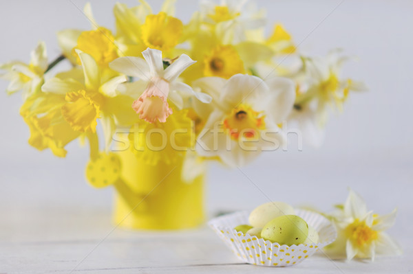 Springtime Daffodils In Full Bloom with colorful Easter eggs on the table Stock photo © Moravska