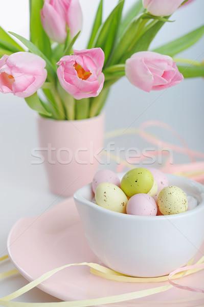 Páscoa decoração pintado ovos belo rosa Foto stock © Moravska