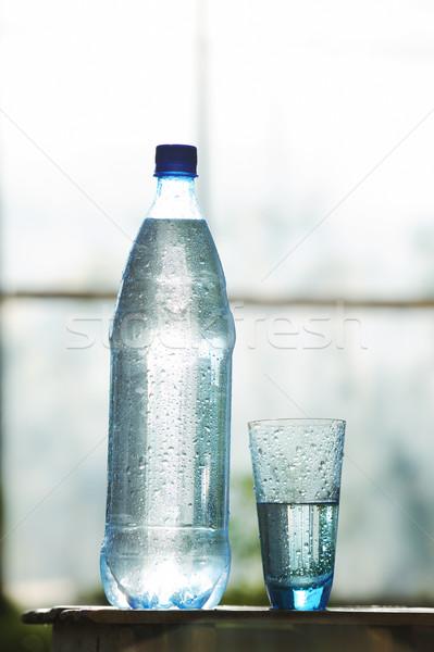 Szkła manierka woda mineralna tabeli wody lodu Zdjęcia stock © Moravska