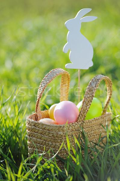 Ovos de páscoa cesta fora rabino decorações grama Foto stock © Moravska