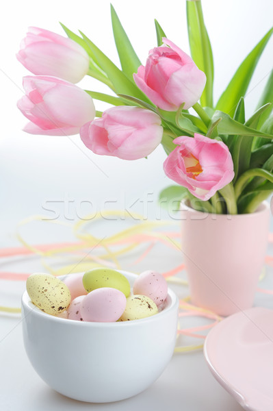 Easter decoration with painted eggs and beautiful pink tulips Stock photo © Moravska