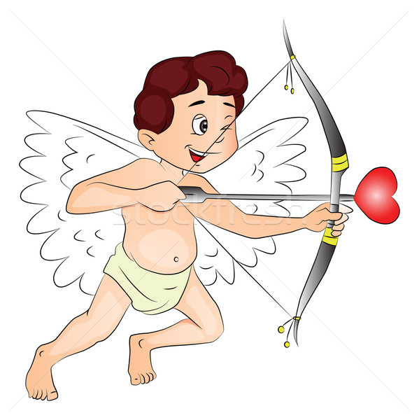 Vector of happy cupid with bow and arrow. Stock photo © Morphart