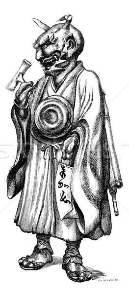 Bronze statuette representing the devil Japanese. Drawing Feart, Stock photo © Morphart
