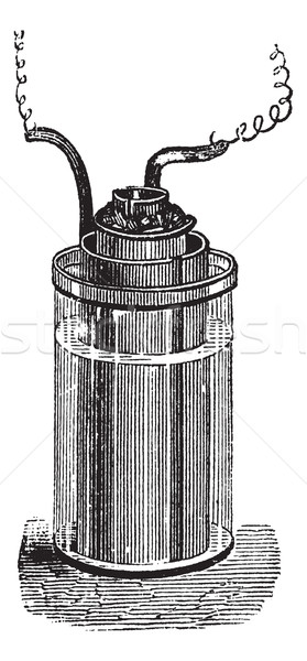 Daniell cell or gravity cell vintage engraving Stock photo © Morphart