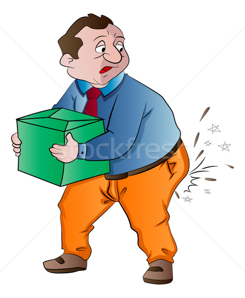 Man Experiencing Butt Pain After Lifting a Box, illustration Stock photo © Morphart