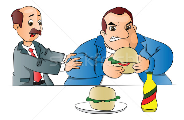 Vector of a man stopping friend from eating burger. Stock photo © Morphart