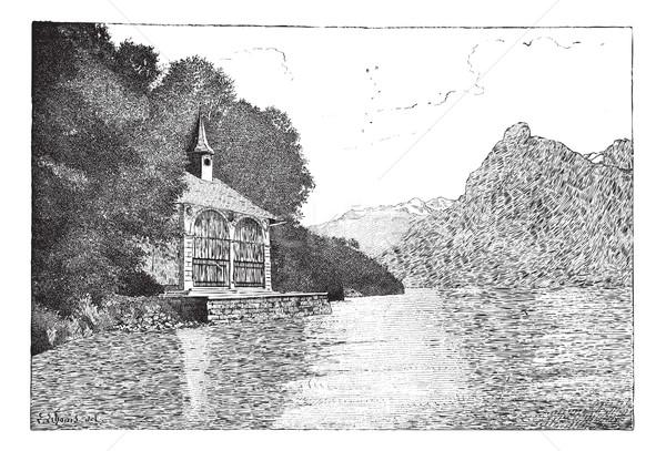 Kápolna klasszikus vésés öreg gravírozott illusztráció Stock fotó © Morphart