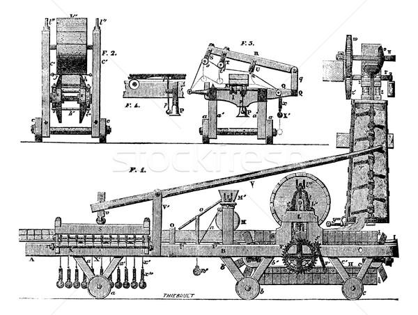 Carrelage machine vintage gravure gravé illustration Photo stock © Morphart