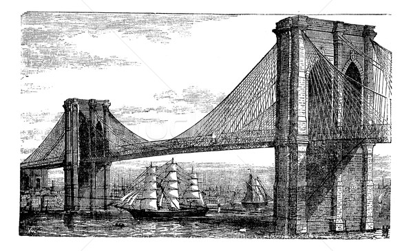 Illustration of Brooklyn Bridge and East River, New York, United Stock photo © Morphart