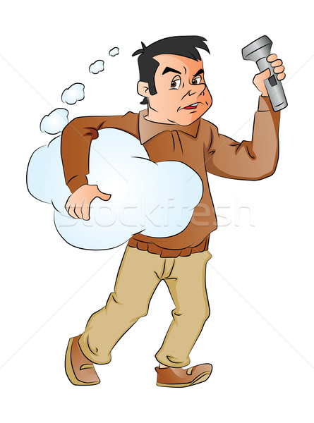 Vector of man holding thought cloud and flashlight. Stock photo © Morphart