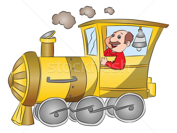 вектора пар двигатель драйвера счастливым верховая езда Сток-фото © Morphart