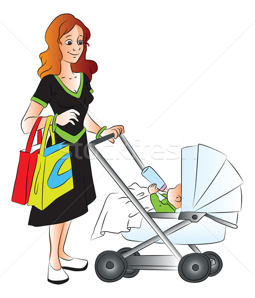 Vector madre empujando bebé Foto stock © Morphart