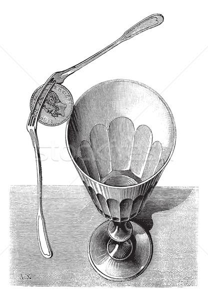 Figo equilíbrio truque de mágica vintage gravado Foto stock © Morphart