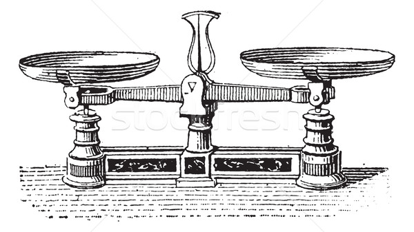 Fig.3. Roberval balance, vintage engraving. Stock photo © Morphart