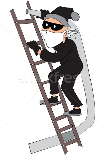 Vector of thief with pipe on ladder. Stock photo © Morphart