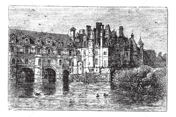 Chenonceau Castle vintage engraving Stock photo © Morphart