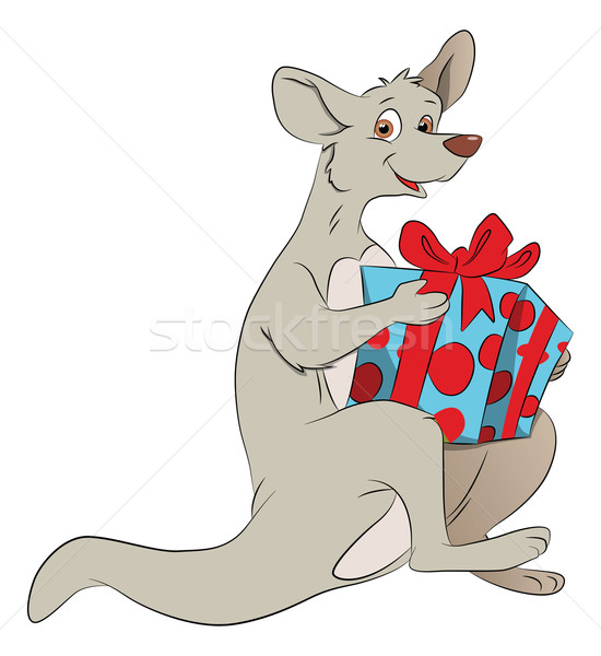 Vector of kangaroo holding a giftbox. Stock photo © Morphart