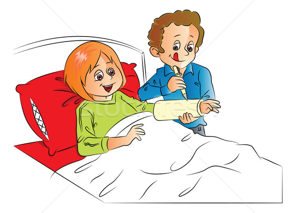 Stock photo: Vector of man writing on wife's plaster cast, relaxing on bed.