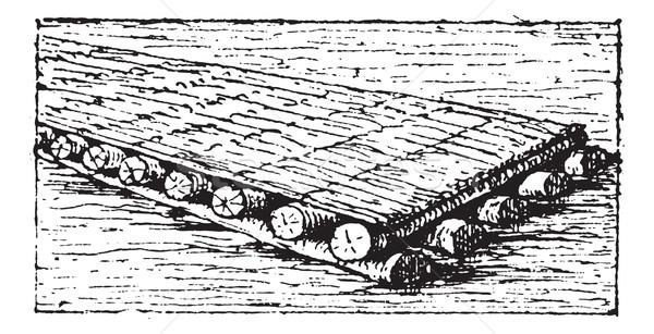 Phoenician raft vintage engraving Stock photo © Morphart