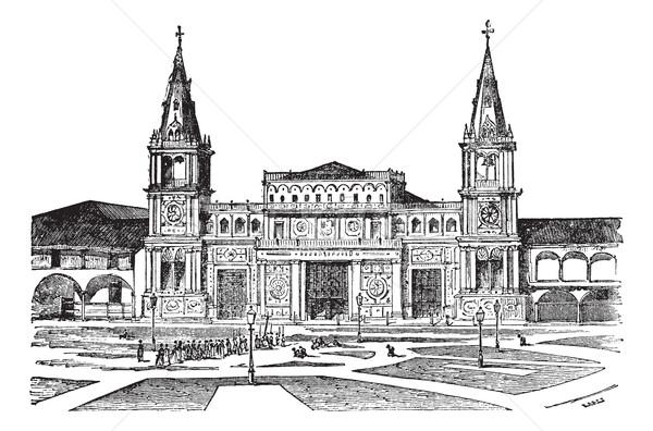 Kathedraal Ecuador oude gegraveerd illustratie Stockfoto © Morphart