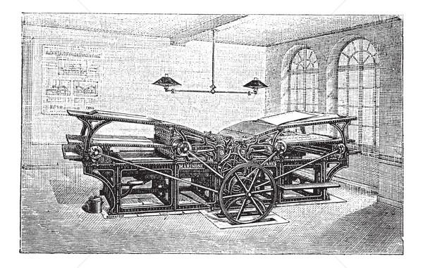 Dupla nyomdagép klasszikus vésés öreg gravírozott Stock fotó © Morphart