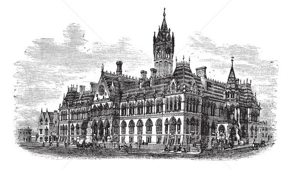Manchester Anglia klasszikus vésés öreg gravírozott Stock fotó © Morphart