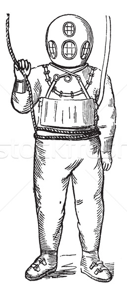 Diver in Surface-supplied Diving Equipment, vintage engraving Stock photo © Morphart