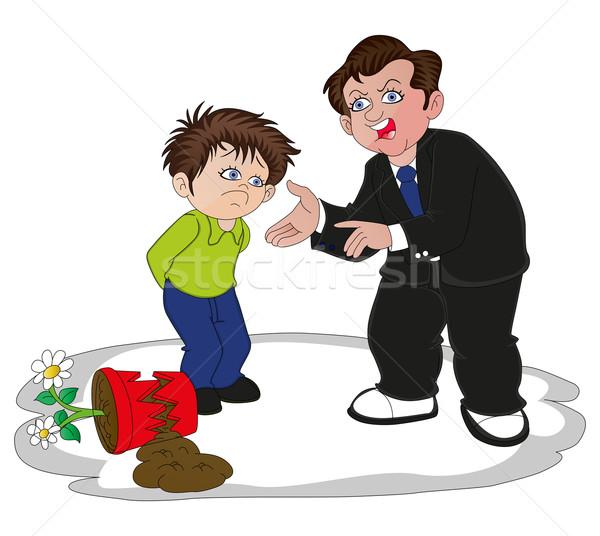 Vector of businessman scolding his son for broken flower pot. Stock photo © Morphart