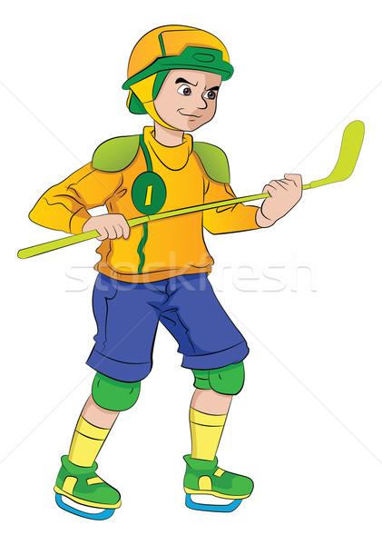 Man Playing Hockey, illustration Stock photo © Morphart