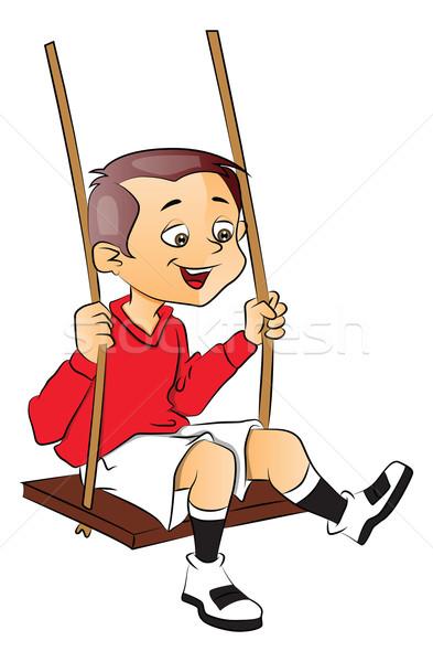 Vector of happy boy on swing. Stock photo © Morphart