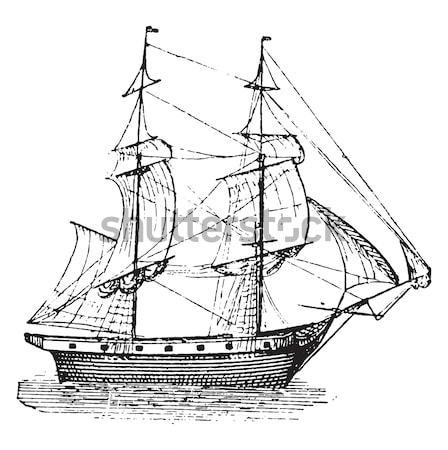 Szent francia hajó klasszikus vésés gravírozott Stock fotó © Morphart
