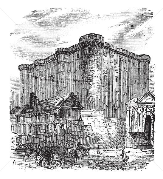 The Bastille, in Paris, France. Vintage engraving. Stock photo © Morphart