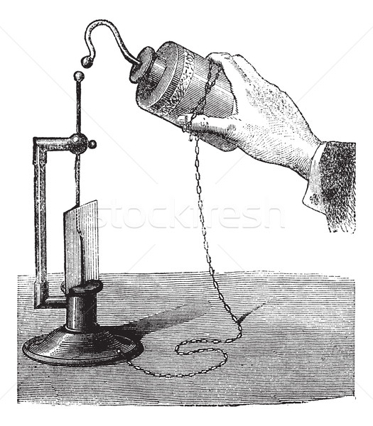 Leyden Jar, vintage engraved illustration Stock photo © Morphart