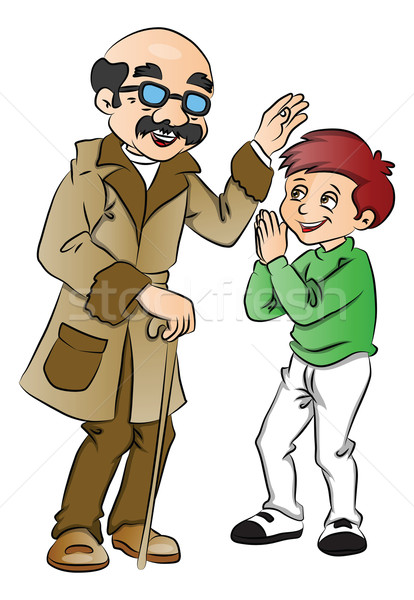 Vector of happy old man blessing a boy. Stock photo © Morphart