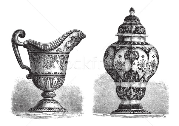 Various Earthenwares, found in Rouen, France, vintage engraving Stock photo © Morphart