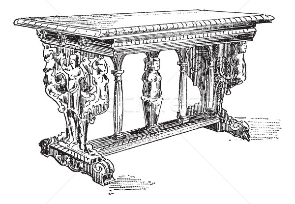Table vintage engraving Stock photo © Morphart