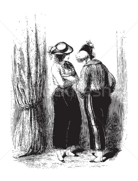 разговор два женщину за занавес Париж Сток-фото © Morphart