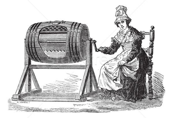 Woman using barrel churn for making butter vintage engraving Stock photo © Morphart